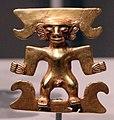 Panama, veraguas, pendente a forma di figura maschile, 1000-1550 ca., oro.jpg