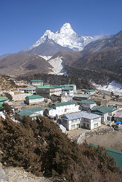 Pangboche with Ama Dablam mountain behind