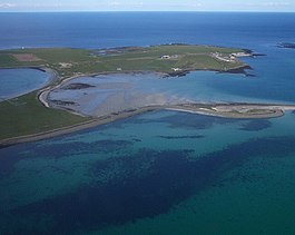 Papa Stronsay from the air. The monastery can be seen at the top right.