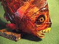 Paper mache Faux Taxidermy Folk Art sculpture of predatory Piranha Fish by Kuriologist.jpg