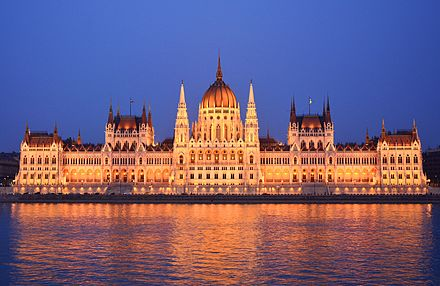 Hungarian Parliament Building on the bank of the Danube in Budapest Parliament Building, Budapest, outside.jpg