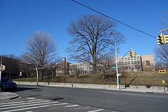 Hillcrest High School (Queens) - Looking east from Parsons Boulevard