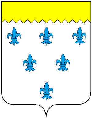 William Paston (died 1444) - Paston arms: Argent, six fleurs-de-lys azure a chief indented or