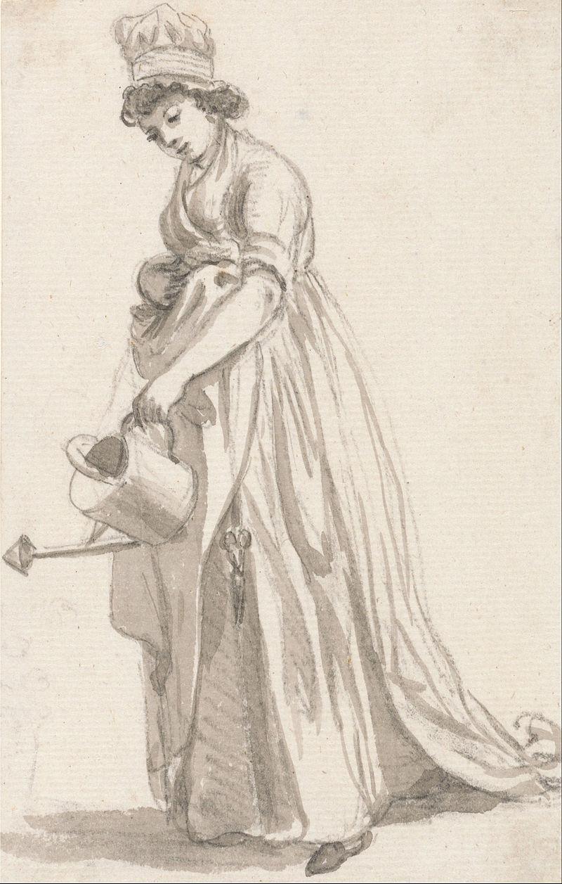 Paul Sandby - A Girl with a Watering Can facing left- Sarah Hough, Mrs. T.P. Sandby's Nursery Maid - Google Art Project.jpg