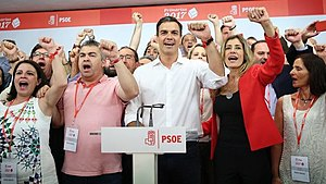 Pedro Sánchez (Spanish politician) - Pedro Sánchez, after winning the primary election for Secretary-General, singing The Internationale.