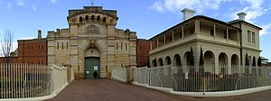 Bathurst Correctional Complex - The hand-carved sandstone gate and façade of the Bathurst Correctional Complex