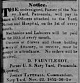 Pensacola Gazette, 27 Nov 1852, p.3., Payday 10th of every month for mechanics and laborers, and for Owners of Slaves and those holding powers of attorney.jpg