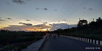 Perungudi - sunset near Perungudi Railway station