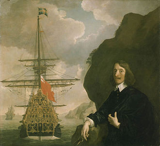 HMS Sovereign of the Seas - Pett and Sovereign of the Seas showing her gilded stern carvings depicting King Edgar as the perceived founder of English naval strength and dominion