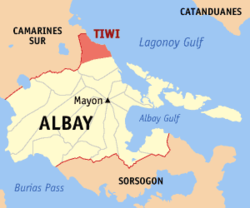 Map of Albay with Tiwi highlighted