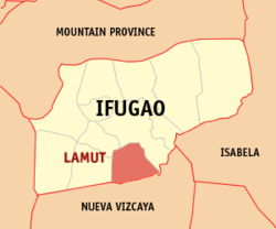 Map of Ifugao showing the location of Lamut