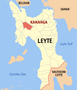 Map of Leyte with Kananga highlighted