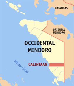 Mapa de Occidental Mindoro con Calintaan resaltado