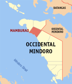 Mapa de Occidental Mindoro con Mamburao resaltado
