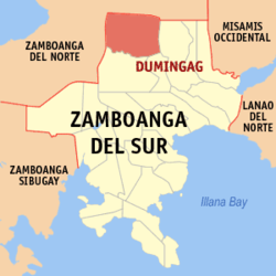 Map of Zamboanga del Sur with Dumingag highlighted