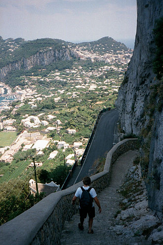 Phoenician Steps - Looking down the steps with the town of Capri in the background