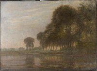Piet Mondriaan - Bend in the Gein with poplars, three isolated, and farm woman with cows - 0334231 - Kunstmuseum Den Haag.jpg