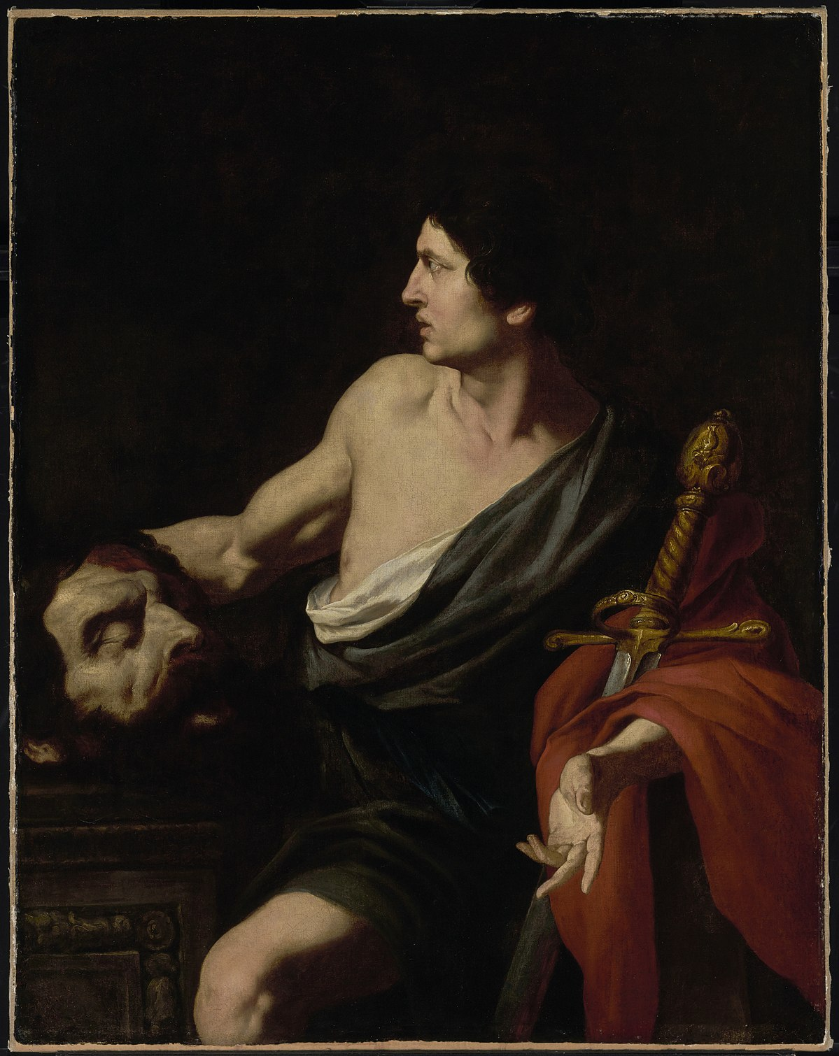david with the head of goliath David with the head of goliath is a painting by the italian artist michelangelo merisi da caravaggio it resides in the galleria borghese, rome (caravaggio 1573 - 1610, date: 1610, oil on canvas, 125 × 100 cm, museum galleria borghese, rome.