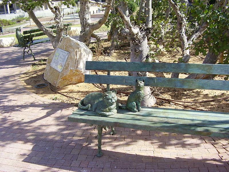 גן סיפור שני חתולים על ספסל אחד בחולון