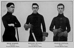 "Pittsburgh Victorias - Pittsburgh Victorias players Eddie Roberts, William ""Peg"" Duval and Charles ""Baldy"" Spittal."