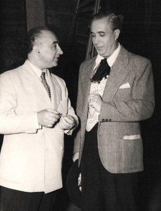 Federico Moreno Torroba - Federico Moreno Torroba (left) with zarzuela baritone Plácido Domingo Ferrer backstage at the Teatro de la Zarzuela in Madrid, 1946