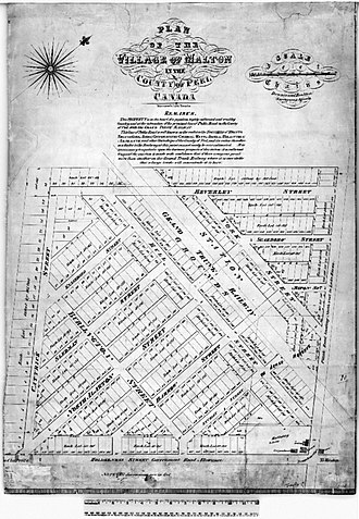 Malton, Mississauga - Plan of the Village of Malton of the County of Peel, 1877 Peel Atlas, Dennis and Boulton Surveying Agents