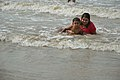 Playful Mother and Child with Sea Waves - New Digha Beach - East Midnapore 2015-05-03 9792.JPG