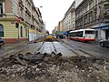 Plzeňská, rekonstrukce TT, přejezd Erbenovy (01).jpg
