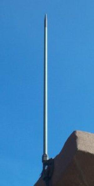 Lightning rod - Pointed lightning rod on a building