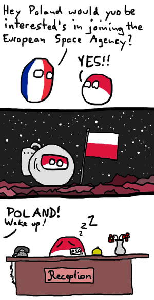 "Polandball - An example of a Polandball comic which is an extension of the ""Poland cannot into space"" catchphrase. The comic references Poland joining the European Space Agency in 2012."