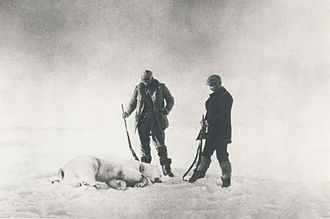 Andrée's Arctic balloon expedition - Frænkel (left) and Strindberg with the first polar bear shot by the explorers