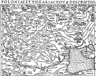History of Belarus - Munster's map of Poland and Hungary. Russia Alba (Belarus) is located in land of Chernihiv (upper right corner).