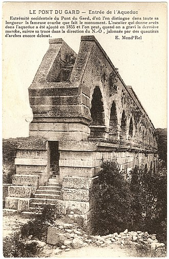 Pont du Gard - West end of the Pont du Gard in 1891, showing the stairs installed by Charles Laisné to enable visitors to enter the conduit
