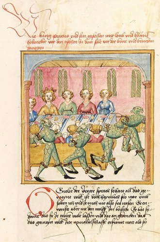 Pontus and Sidonia - Pontus and his train disguised as wild men at the wedding of Sidonia and Genelet, illustration in a manuscript commissioned for Margarethe of Savoy  in ca. 1475 (Heidelberg, CPG 142, fol. 122r).