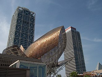 1992 Summer Olympics - Frank Gehry's Fish sculpture in front of the Hotel Arts (left) and the Torre Mapfre (right) in the Olympic Village neighbourhood