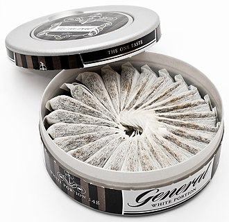 "Snus - ""White portion"" snus of the Swedish label General"