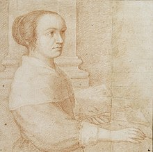 Portrait of Claudine Bouzonnet Stella, facing right, holding a brush and palette.jpg