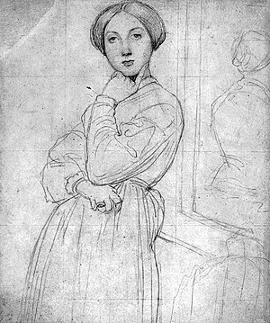 Portrait of Comtesse d'Haussonville - Preparatory drawing; graphite and white highlights on paper, 1842