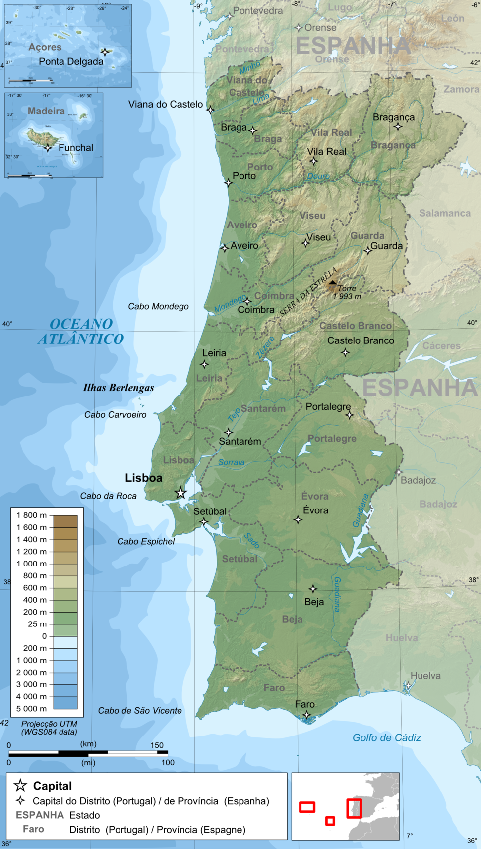 Portugal topographic map-pt