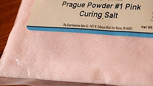 "Curing (food preservation) - Curing salt, also known as ""Prague powder"" or ""pink salt"", is typically a combination of sodium chloride and sodium nitrite that is dyed pink to distinguish it from table salt."