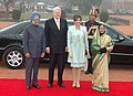Pratibha Devisingh Patil and the Prime Minister, Dr. Manmohan Singh at the ceremonial reception of the President, Iceland, Dr. Olafur Ragnar Grimsson, at Rashtrapati Bhavan, in New Delhi on January 14, 2010.jpg