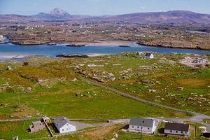 The Rosses - An aerial view of Carrickfin and Ranafast, with Mount Errigal in the background.