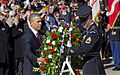 President Barack H. Obama, left, and U.S. Army Sgt. 1st Class Marcus T. Welch place a wreath at the Tomb of the Unknowns during a Veterans Day ceremony at Arlington National Cemetery in Arlington, Va., Nov. 11 131111-D-HU462-216.jpg