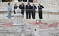 President George W. Bush and Laura Bush are shown a large model of the city of Jerusalem.jpg
