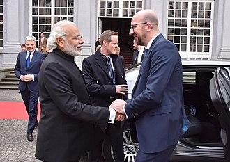 Belgium–India relations - Indian PM Narendra Modi with Belgian PM Charles Michel, Brussels, 2016