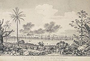 Raid on Cartagena (1697) - Cartagena under the control of the French; illustration by Nicolas Ozanne.
