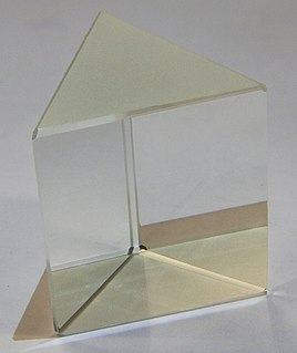 Prism transparent optical element with flat, polished surfaces that refract light