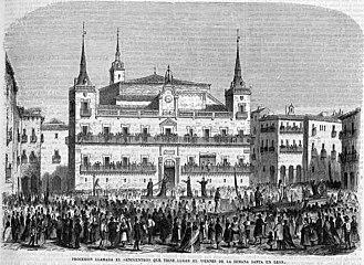 Procesión llamada el «Encuentro» que tiene lugar el viernes de la Semana Santa en León