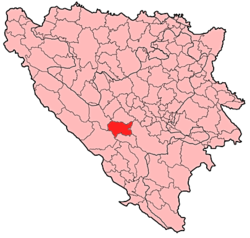 Location of Prozor-Rama within Bosnia and Herzegovina.
