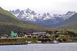 View of Puerto Williams with Dientes de Navarino mountains behind
